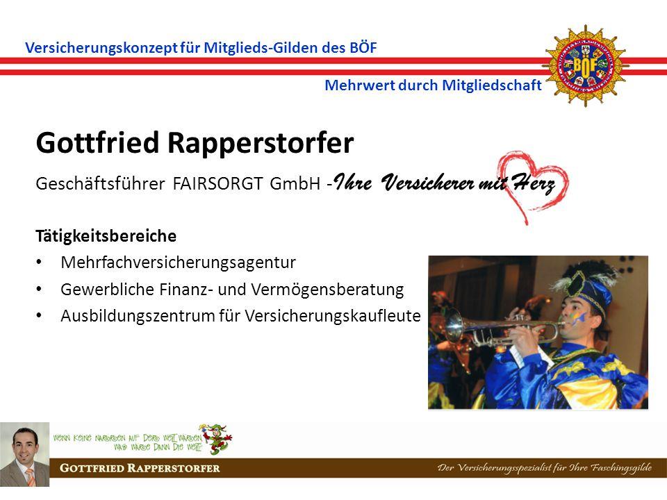 Versicherungskonzept für Mitglieds-Gilden des BÖF Mehrwert durch Mitgliedschaft Gottfried Rapperstorfer Geschäftsführer FAIRSORGT GmbH - Ihre Versicherer mit Herz Tätigkeitsbereiche Mehrfachversicherungsagentur Gewerbliche Finanz- und Vermögensberatung Ausbildungszentrum für Versicherungskaufleute