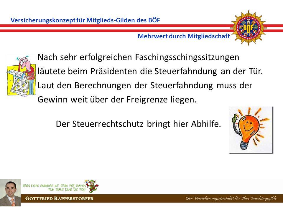 Versicherungskonzept für Mitglieds-Gilden des BÖF Mehrwert durch Mitgliedschaft Ein Vereinsmitglied lenkte ein KFZ beim Transport von Faschingsfundus.