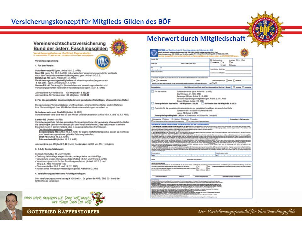 Versicherungskonzept für Mitglieds-Gilden des BÖF Mehrwert durch Mitgliedschaft