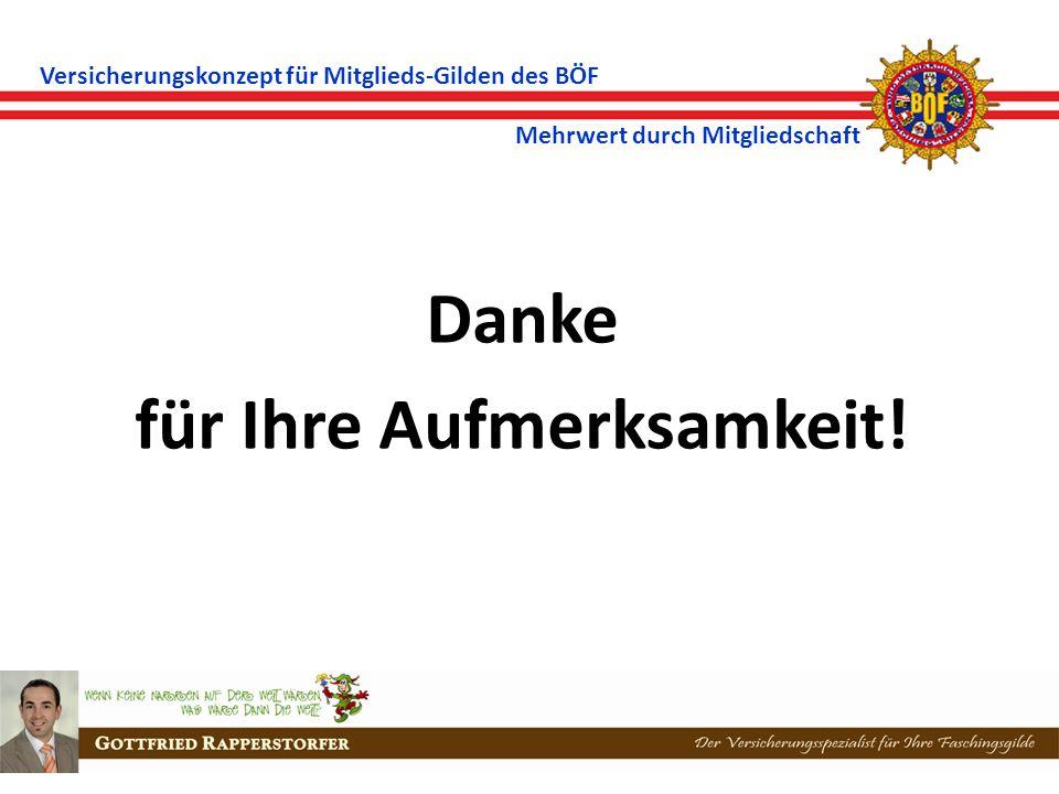 Versicherungskonzept für Mitglieds-Gilden des BÖF Mehrwert durch Mitgliedschaft Danke für Ihre Aufmerksamkeit!