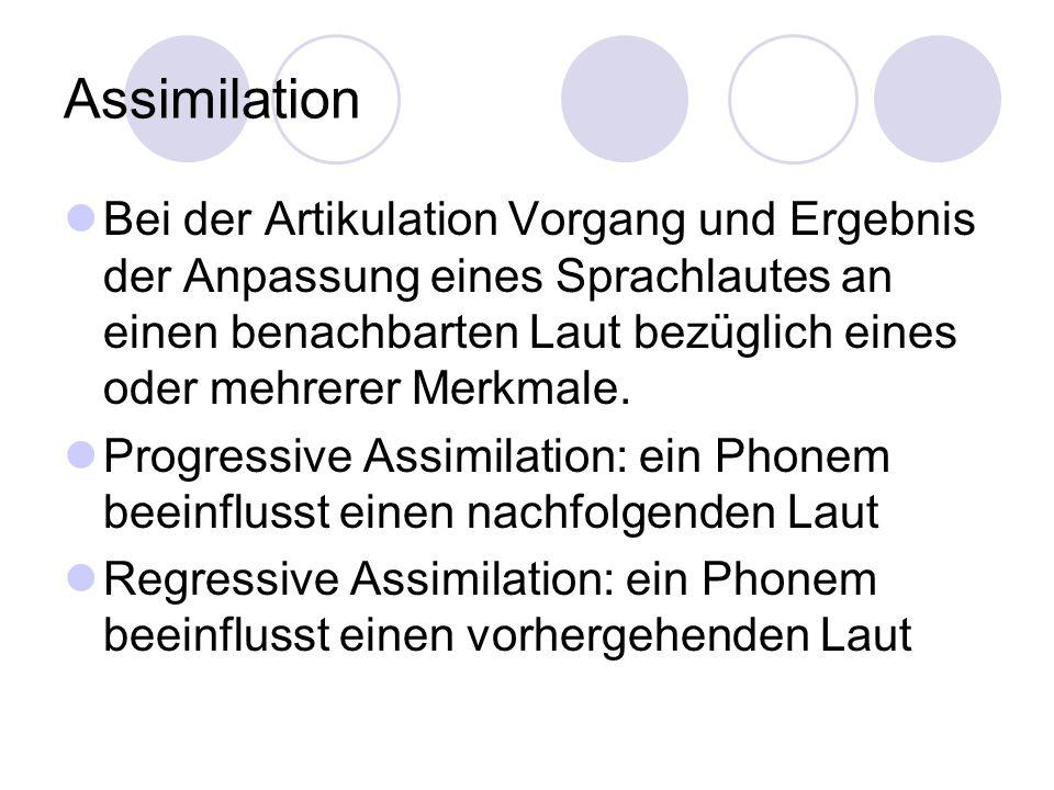 Assimilation Bei der Artikulation Vorgang und Ergebnis der Anpassung eines Sprachlautes an einen benachbarten Laut bezüglich eines oder mehrerer Merkm