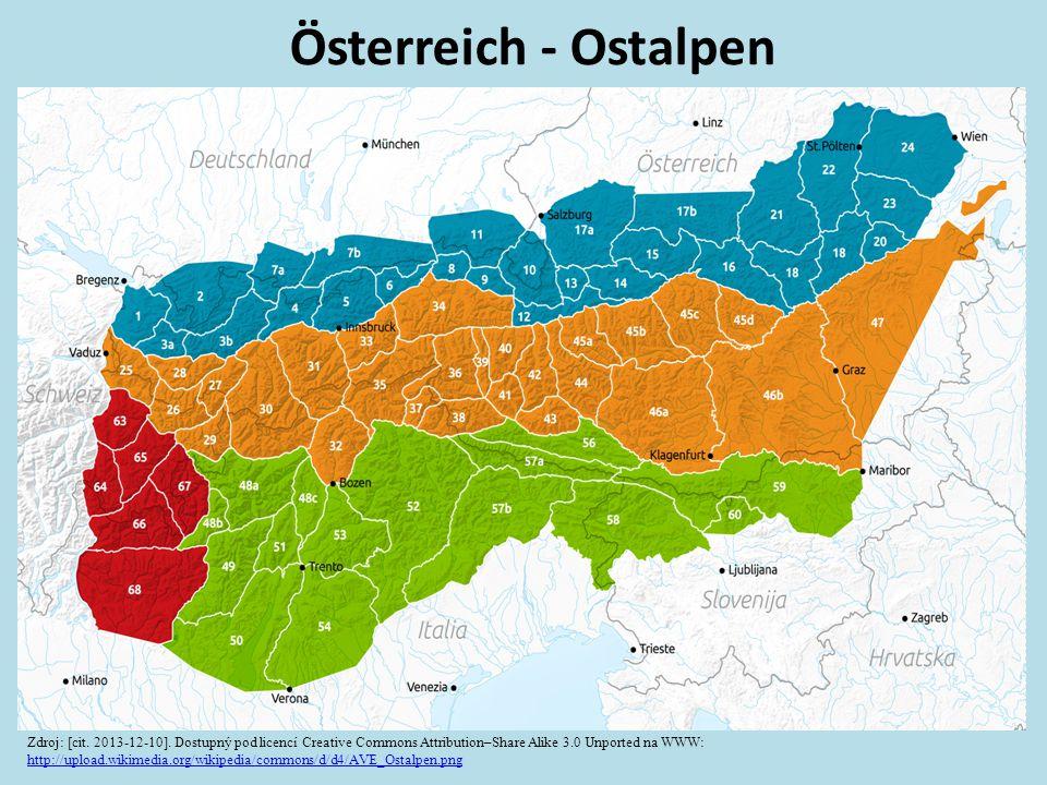 Österreich - Ostalpen Zdroj: [cit. 2013-12-10]. Dostupný pod licencí Creative Commons Attribution–Share Alike 3.0 Unported na WWW: http://upload.wikim