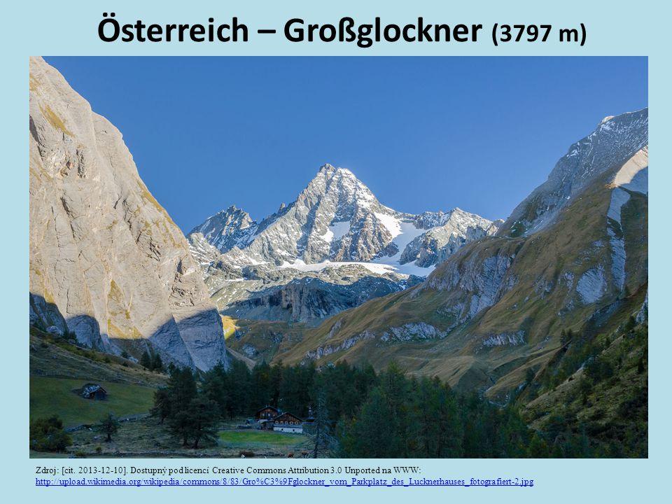 Österreich – Großglockner (3797 m) Zdroj: [cit. 2013-12-10]. Dostupný pod licencí Creative Commons Attribution 3.0 Unported na WWW: http://upload.wiki