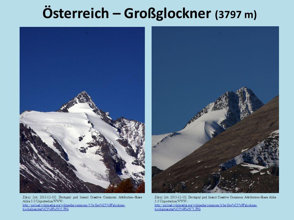 Österreich – Großglockner (3797 m) Zdroj: [cit. 2013-12-10]. Dostupný pod licencí Creative Commons Attribution–Share Alike 3.0 Unported na WWW: http:/