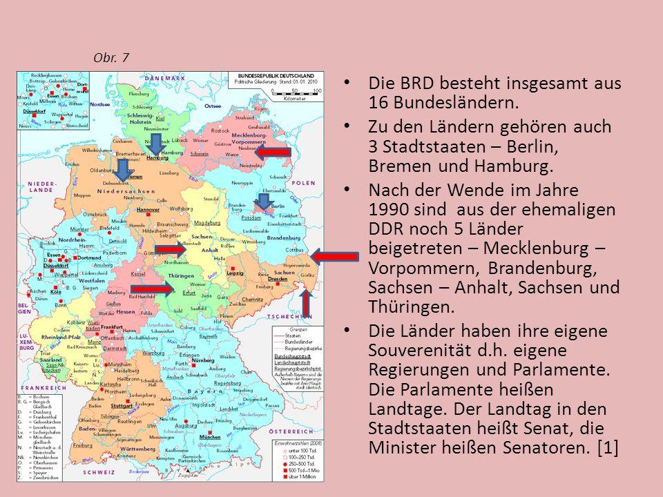 Die BRD besteht insgesamt aus 16 Bundesländern. Zu den Ländern gehören auch 3 Stadtstaaten – Berlin, Bremen und Hamburg. Nach der Wende im Jahre 1990