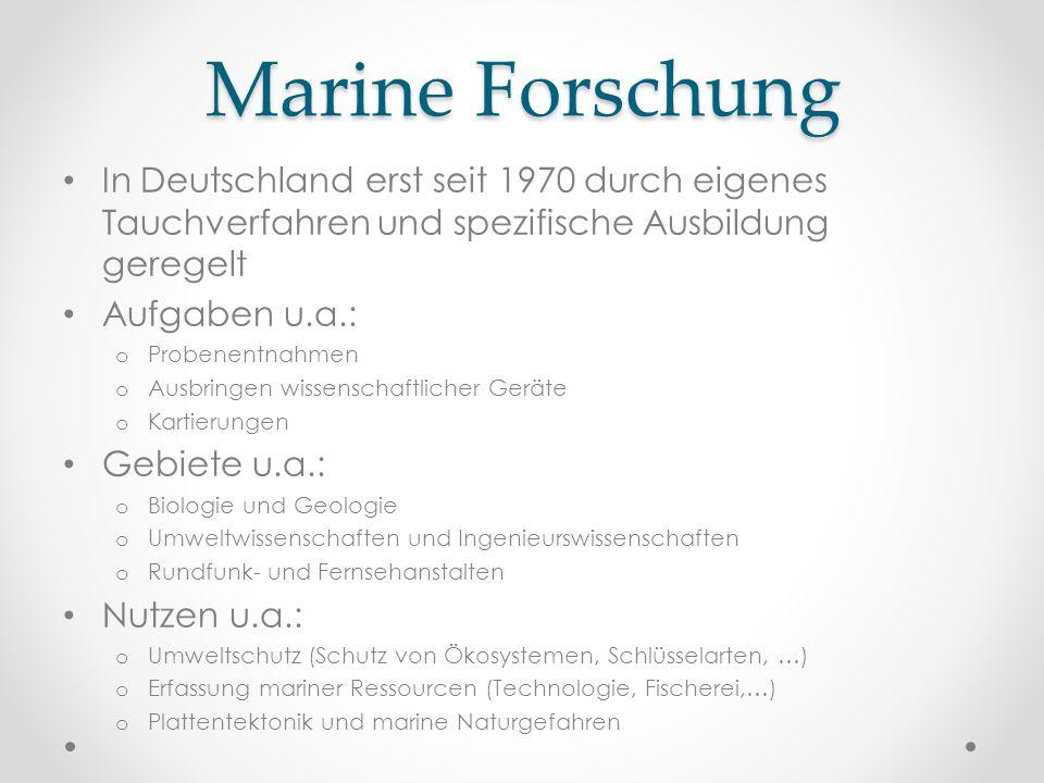 Marine Forschung In Deutschland erst seit 1970 durch eigenes Tauchverfahren und spezifische Ausbildung geregelt Aufgaben u.a.: o Probenentnahmen o Aus