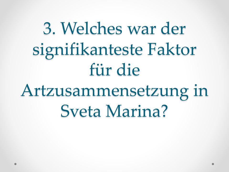 3. Welches war der signifikanteste Faktor für die Artzusammensetzung in Sveta Marina?