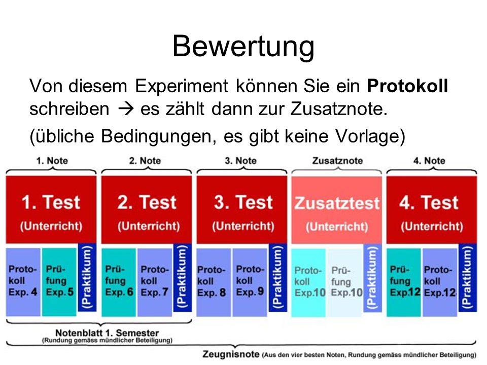 Bewertung Von diesem Experiment können Sie ein Protokoll schreiben  es zählt dann zur Zusatznote.