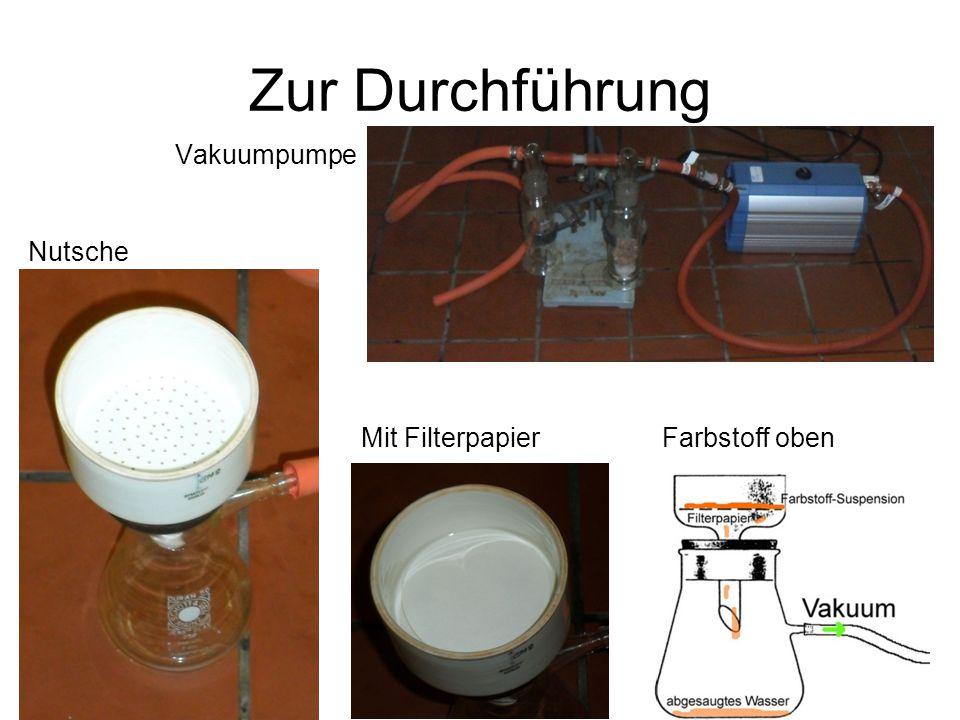 Vakuumpumpe Zur Durchführung Nutsche Mit FilterpapierFarbstoff oben
