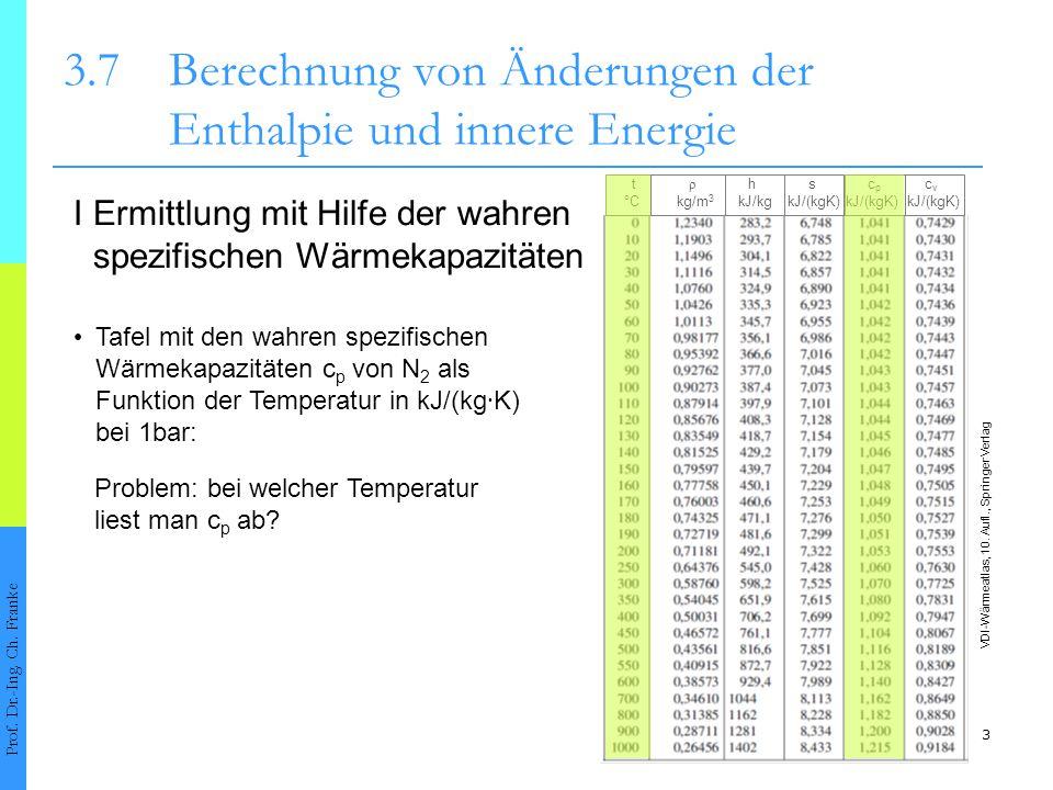 14 3.7Berechnung von Änderungen der Enthalpie und innere Energie Prof.