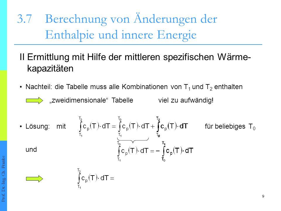 10 3.7Berechnung von Änderungen der Enthalpie und innere Energie Prof.