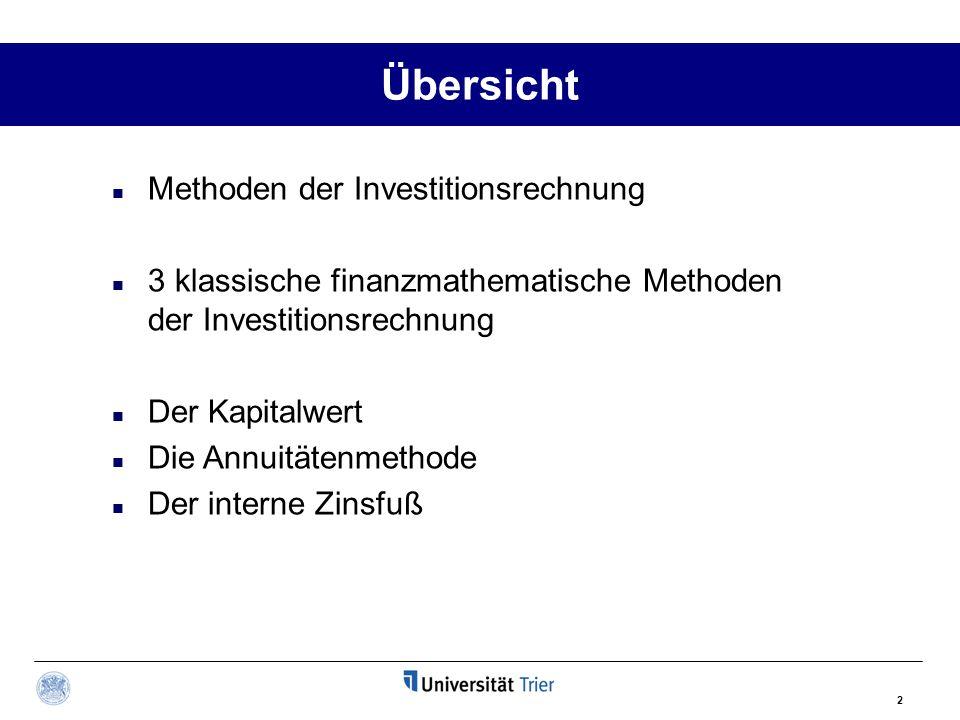 2 Übersicht Methoden der Investitionsrechnung 3 klassische finanzmathematische Methoden der Investitionsrechnung Der Kapitalwert Die Annuitätenmethode Der interne Zinsfuß