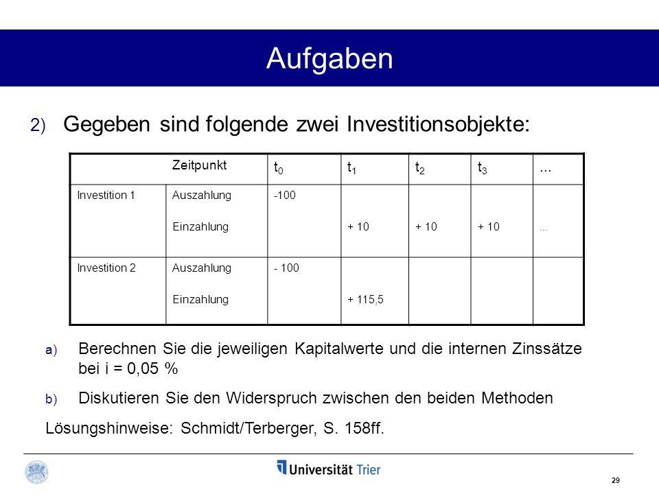 29 Aufgaben 2) Gegeben sind folgende zwei Investitionsobjekte: Zeitpunkt t0t0 t1t1 t2t2 t3t3...