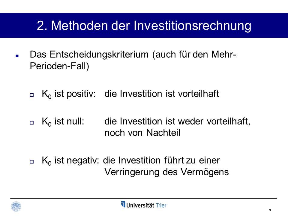 9 2. Methoden der Investitionsrechnung Das Entscheidungskriterium (auch für den Mehr- Perioden-Fall)  K 0 ist positiv: die Investition ist vorteilhaf