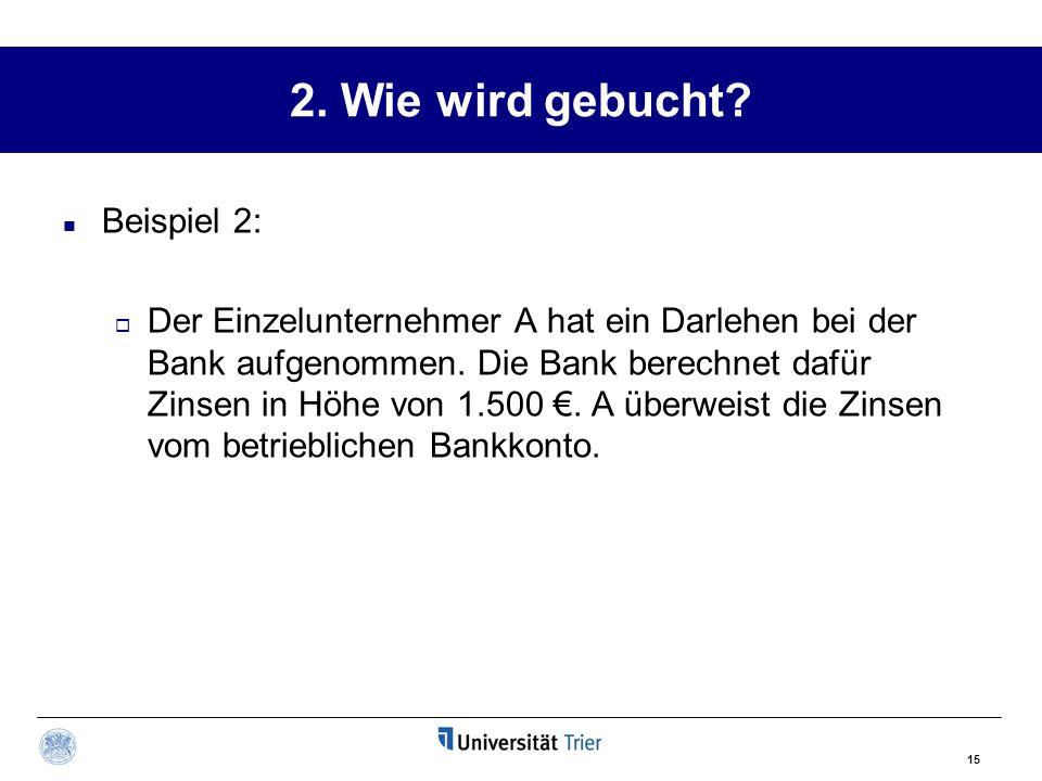15 2. Wie wird gebucht? Beispiel 2:  Der Einzelunternehmer A hat ein Darlehen bei der Bank aufgenommen. Die Bank berechnet dafür Zinsen in Höhe von 1