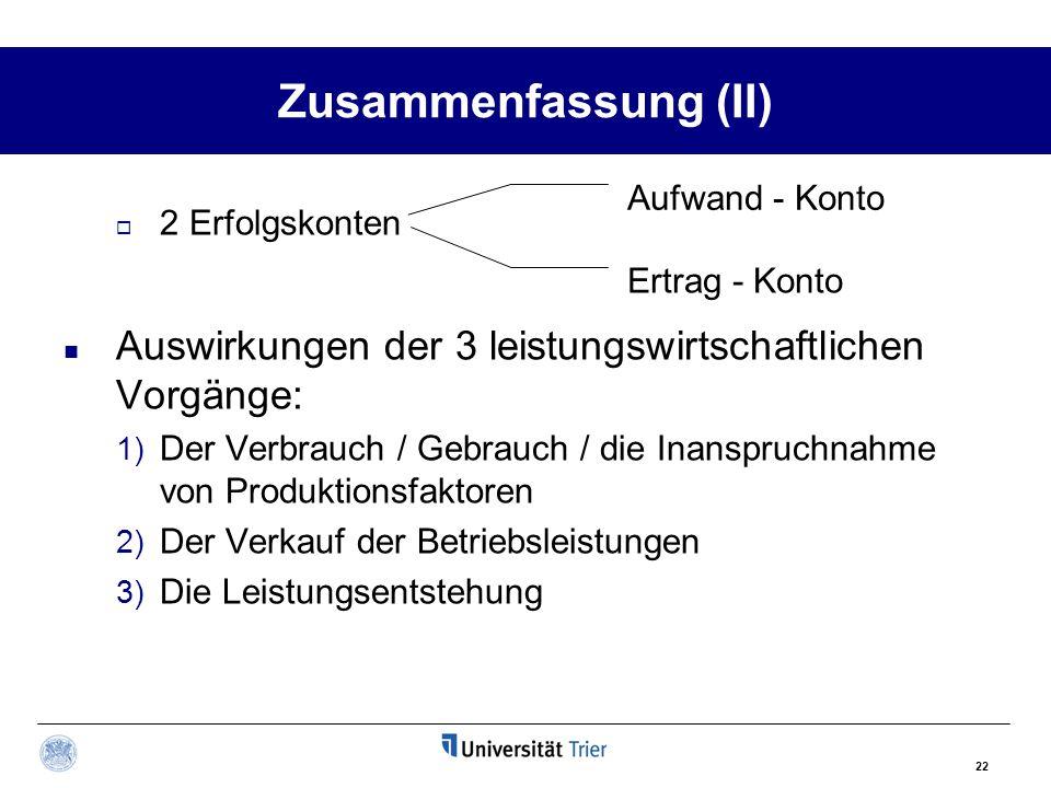 22 Zusammenfassung (II)  2 Erfolgskonten Auswirkungen der 3 leistungswirtschaftlichen Vorgänge: 1) Der Verbrauch / Gebrauch / die Inanspruchnahme von