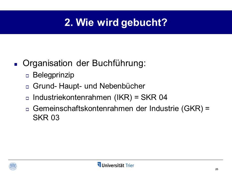 25 2. Wie wird gebucht? Organisation der Buchführung:  Belegprinzip  Grund- Haupt- und Nebenbücher  Industriekontenrahmen (IKR) = SKR 04  Gemeinsc