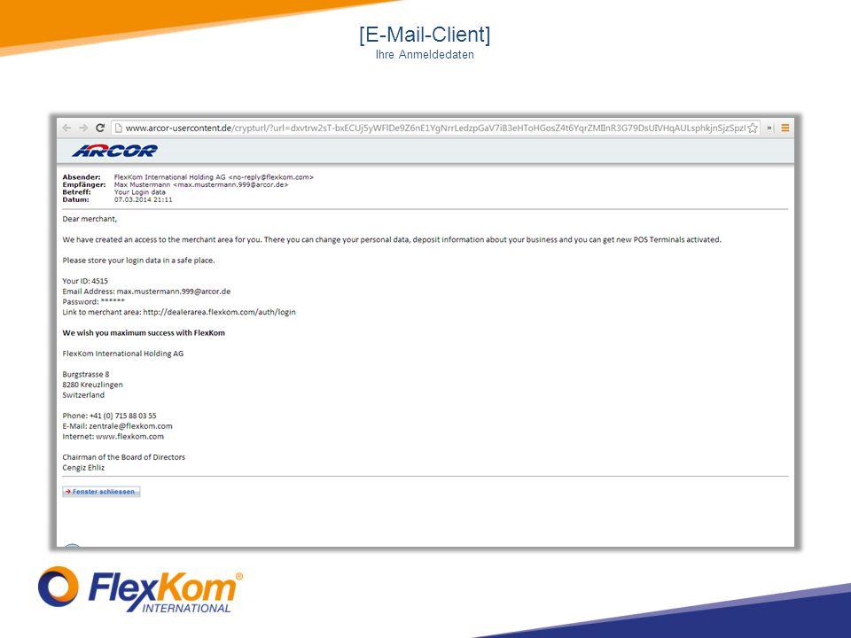 [E-Mail-Client] Ihre Anmeldedaten