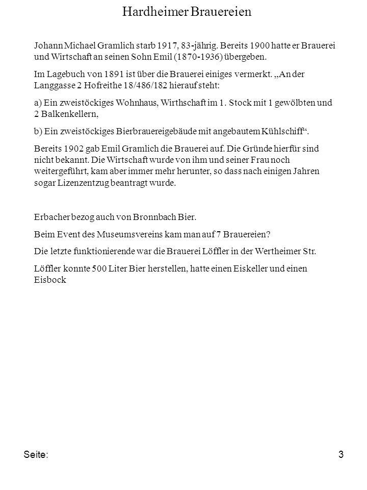 Seite:3 Johann Michael Gramlich starb 1917, 83-jährig. Bereits 1900 hatte er Brauerei und Wirtschaft an seinen Sohn Emil (1870-1936) übergeben. Im Lag