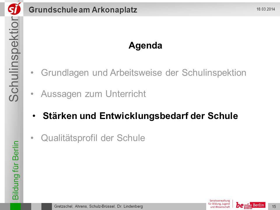 Bildung für Berlin Schulinspektion Grundschule am Arkonaplatz 15 Gretzschel, Ahrens, Schulz-Brüssel, Dr. Lindenberg 18.03.2014 Stärken und Entwicklung