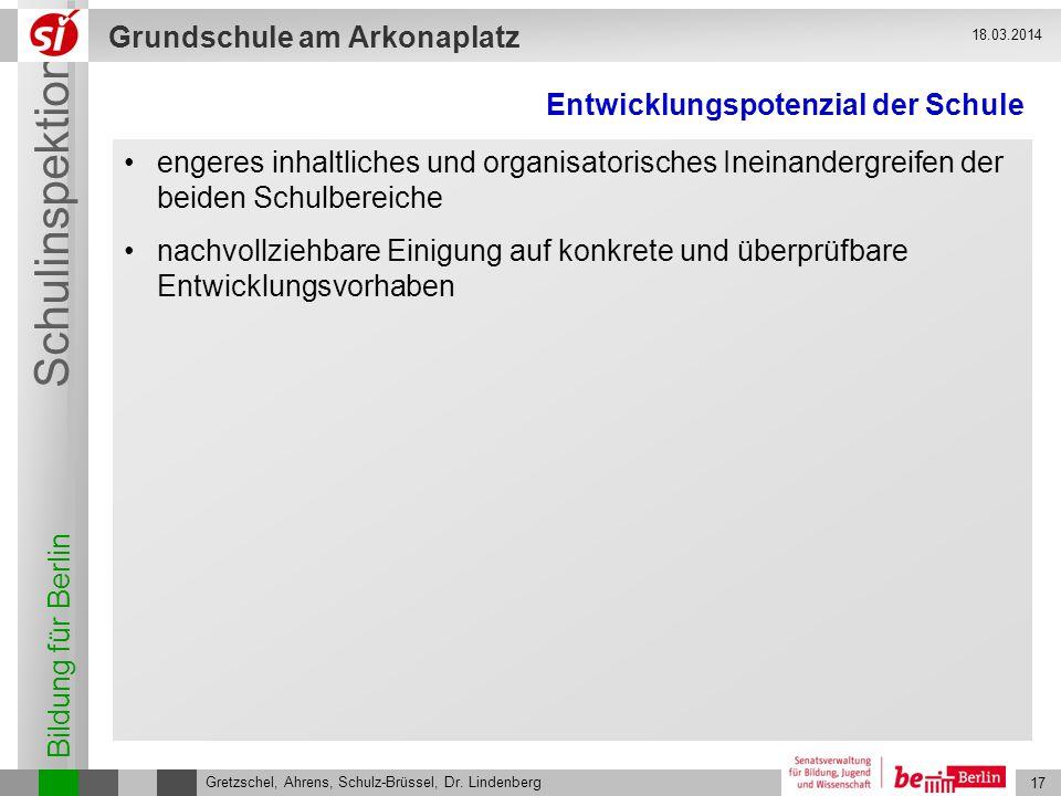 Bildung für Berlin Schulinspektion Grundschule am Arkonaplatz 17 Gretzschel, Ahrens, Schulz-Brüssel, Dr. Lindenberg 18.03.2014 Entwicklungspotenzial d