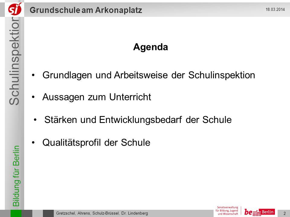 Bildung für Berlin Schulinspektion Grundschule am Arkonaplatz 2 Gretzschel, Ahrens, Schulz-Brüssel, Dr. Lindenberg 18.03.2014 Stärken und Entwicklungs