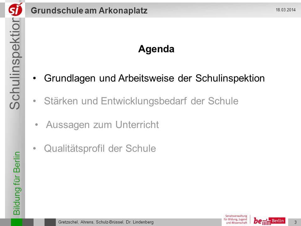 Bildung für Berlin Schulinspektion Grundschule am Arkonaplatz 3 Gretzschel, Ahrens, Schulz-Brüssel, Dr. Lindenberg 18.03.2014 Agenda Grundlagen und Ar