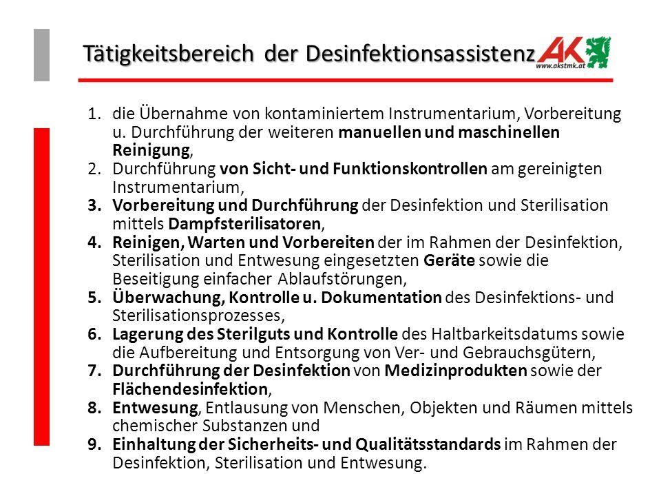 Tätigkeitsbereich der Desinfektionsassistenz 1.die Übernahme von kontaminiertem Instrumentarium, Vorbereitung u.