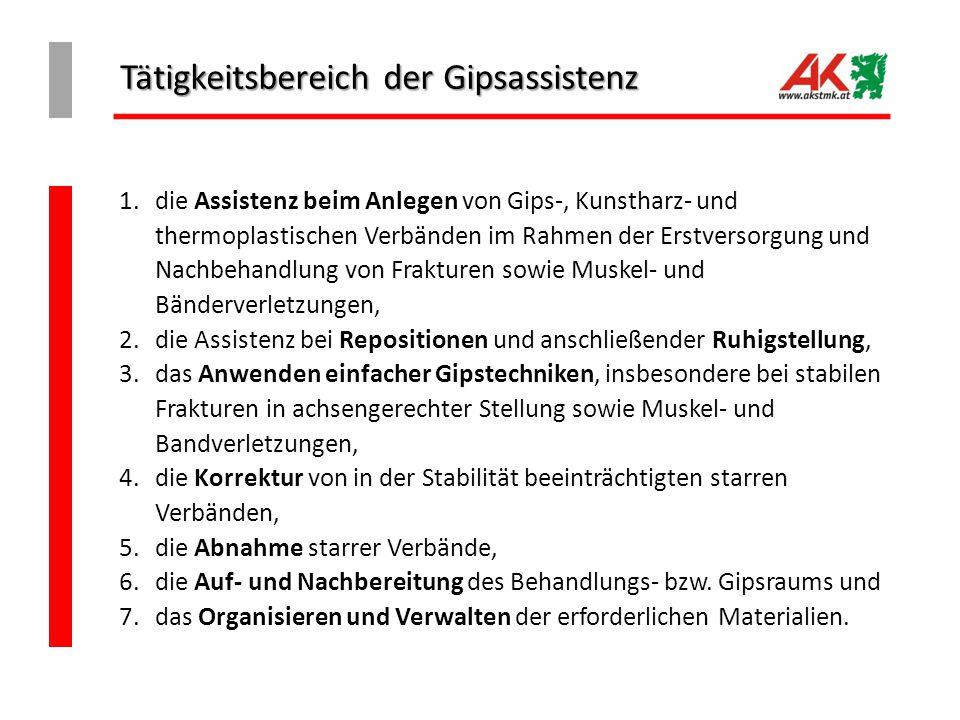 Tätigkeitsbereich der Gipsassistenz 1.die Assistenz beim Anlegen von Gips-, Kunstharz- und thermoplastischen Verbänden im Rahmen der Erstversorgung un