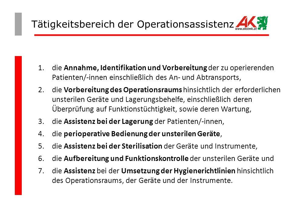 Tätigkeitsbereich der Operationsassistenz 1. die Annahme, Identifikation und Vorbereitung der zu operierenden Patienten/-innen einschließlich des An-