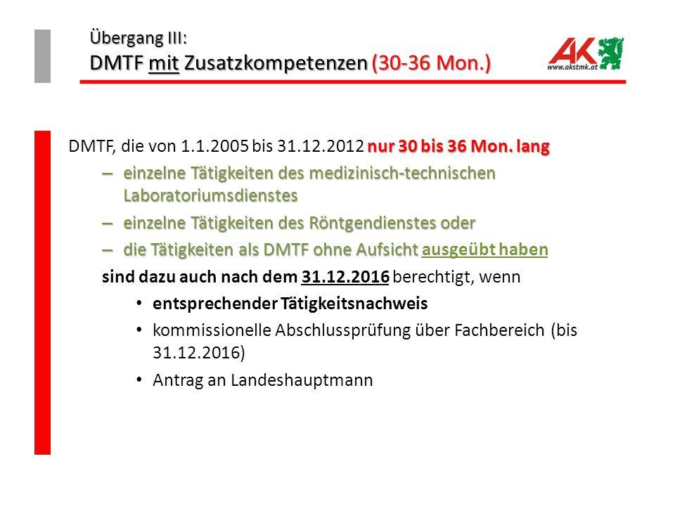 Übergang III: DMTF mit Zusatzkompetenzen (30-36 Mon.) nur 30 bis 36 Mon. lang DMTF, die von 1.1.2005 bis 31.12.2012 nur 30 bis 36 Mon. lang – einzelne