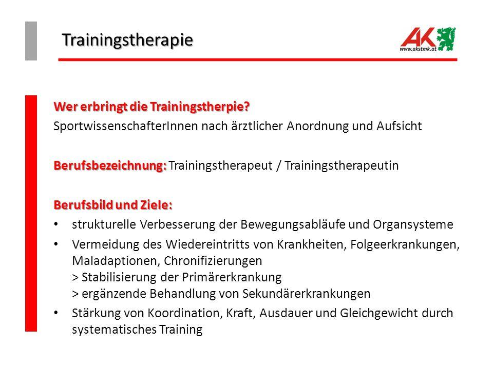 Trainingstherapie Wer erbringt die Trainingstherpie? SportwissenschafterInnen nach ärztlicher Anordnung und Aufsicht Berufsbezeichnung: Berufsbezeichn