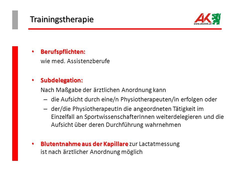 Trainingstherapie Berufspflichten: Berufspflichten: wie med. Assistenzberufe Subdelegation: Subdelegation: Nach Maßgabe der ärztlichen Anordnung kann