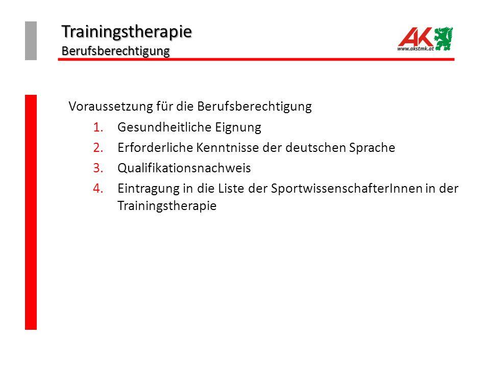 Trainingstherapie Berufsberechtigung Voraussetzung für die Berufsberechtigung 1.Gesundheitliche Eignung 2.Erforderliche Kenntnisse der deutschen Sprache 3.Qualifikationsnachweis 4.Eintragung in die Liste der SportwissenschafterInnen in der Trainingstherapie