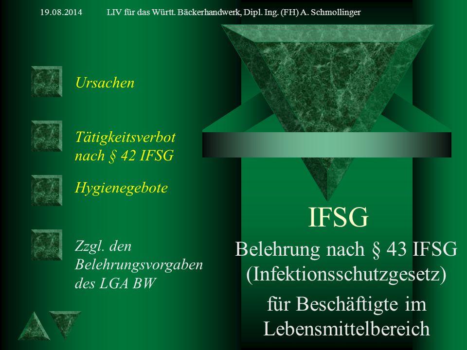 19.08.2014LIV für das Württ. Bäckerhandwerk, Dipl. Ing. (FH) A. Schmollinger IFSG Belehrung nach § 43 IFSG (Infektionsschutzgesetz) für Beschäftigte i