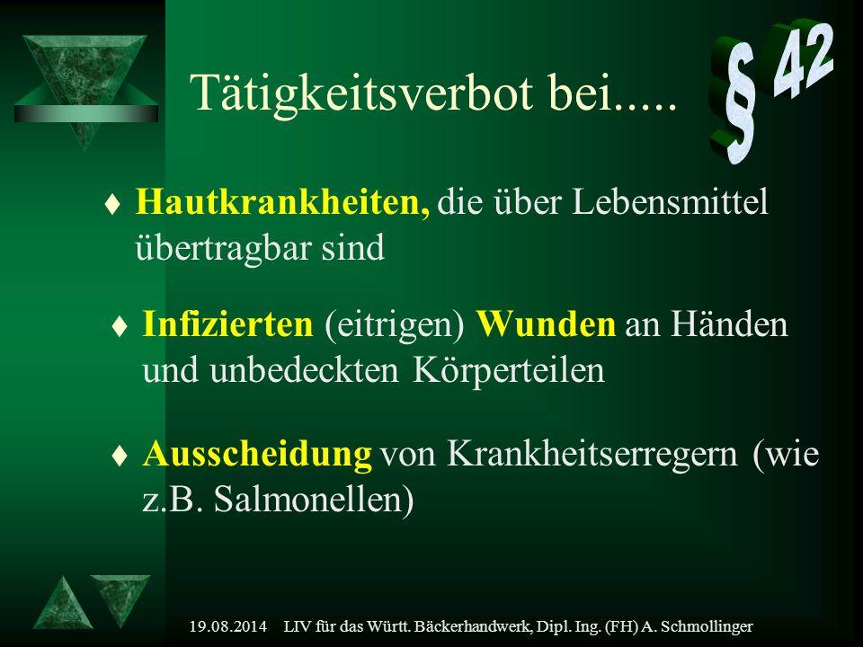 19.08.2014LIV für das Württ. Bäckerhandwerk, Dipl. Ing. (FH) A. Schmollinger t Hautkrankheiten, die über Lebensmittel übertragbar sind t Infizierten (