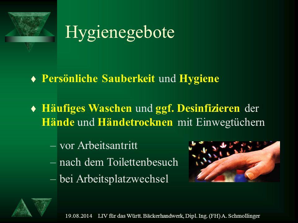 19.08.2014LIV für das Württ. Bäckerhandwerk, Dipl. Ing. (FH) A. Schmollinger t Persönliche Sauberkeit und Hygiene Hygienegebote –vor Arbeitsantritt –n