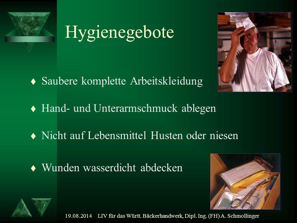 19.08.2014LIV für das Württ. Bäckerhandwerk, Dipl. Ing. (FH) A. Schmollinger Hygienegebote t Hand- und Unterarmschmuck ablegen t Nicht auf Lebensmitte