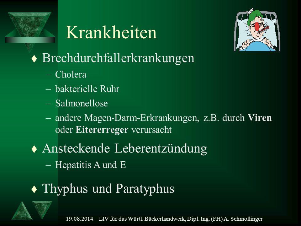 19.08.2014LIV für das Württ. Bäckerhandwerk, Dipl. Ing. (FH) A. Schmollinger Krankheiten t Brechdurchfallerkrankungen –Cholera –bakterielle Ruhr –Salm