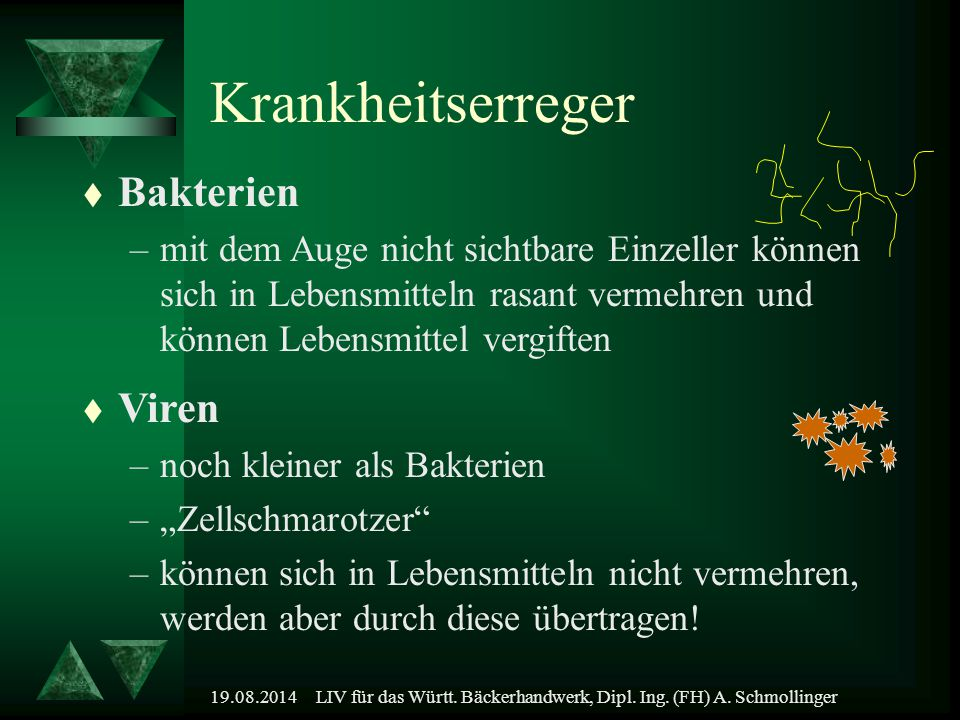 19.08.2014LIV für das Württ. Bäckerhandwerk, Dipl. Ing. (FH) A. Schmollinger Krankheitserreger t Bakterien –mit dem Auge nicht sichtbare Einzeller kön