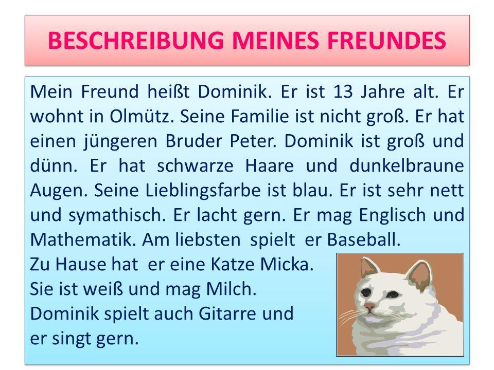 BESCHREIBUNG MEINES FREUNDES Mein Freund heißt Dominik. Er ist 13 Jahre alt. Er wohnt in Olmütz. Seine Familie ist nicht groß. Er hat einen jüngeren B