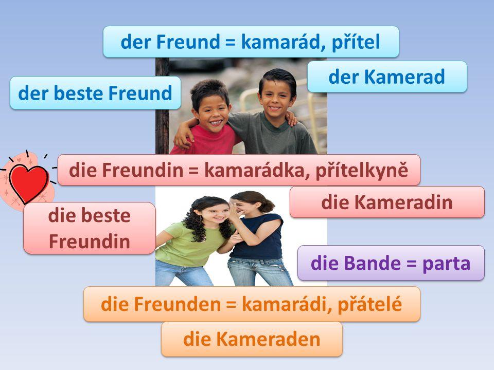 die Freunden = kamarádi, přátelé die Freundin = kamarádka, přítelkyně der Freund = kamarád, přítel die Bande = parta die Kameradin der Kamerad die Kam