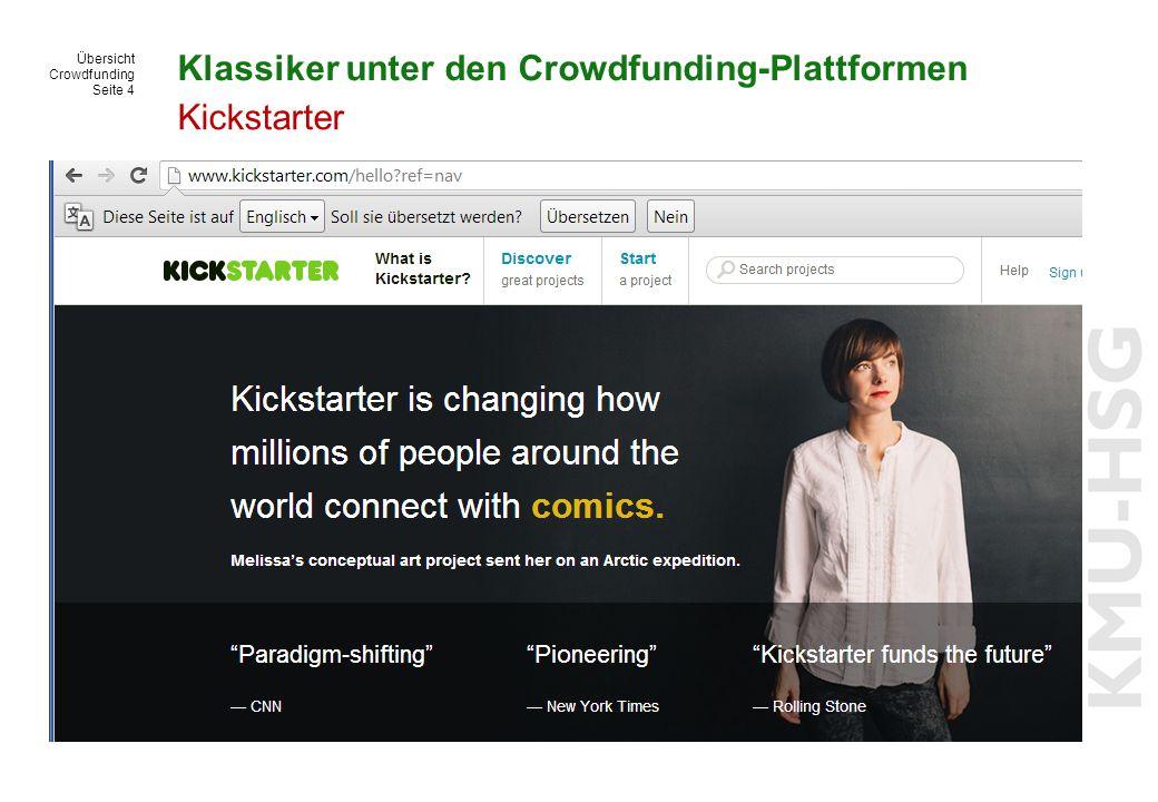 Übersicht Crowdfunding Seite 4 Klassiker unter den Crowdfunding-Plattformen Kickstarter