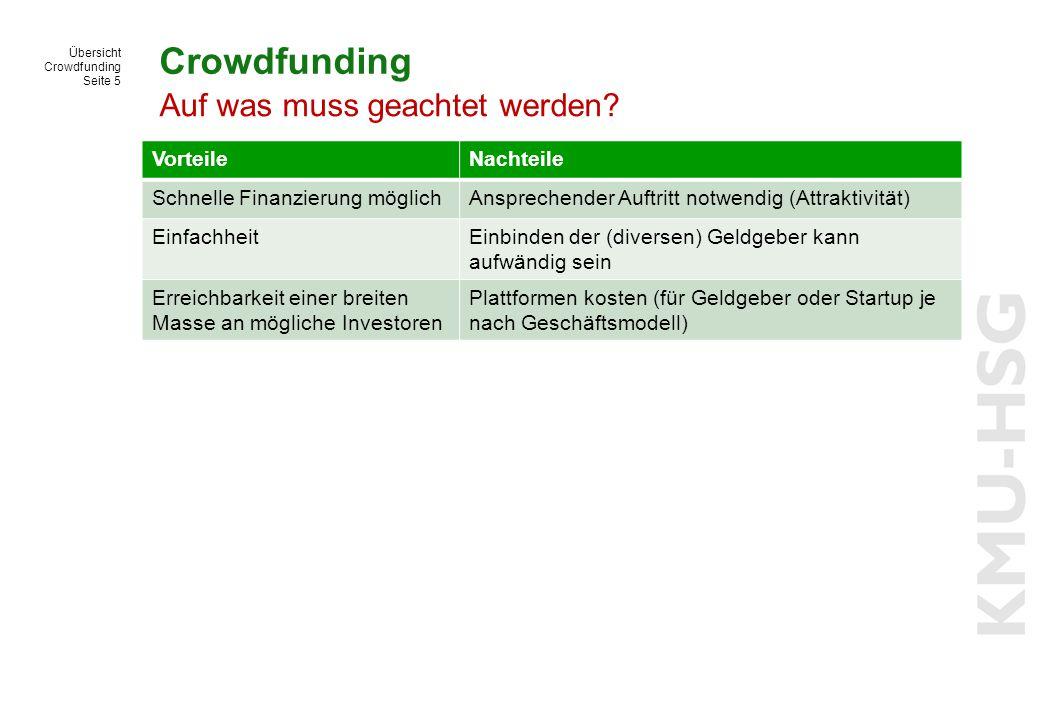 Übersicht Crowdfunding Seite 5 Crowdfunding VorteileNachteile Schnelle Finanzierung möglichAnsprechender Auftritt notwendig (Attraktivität) Einfachhei