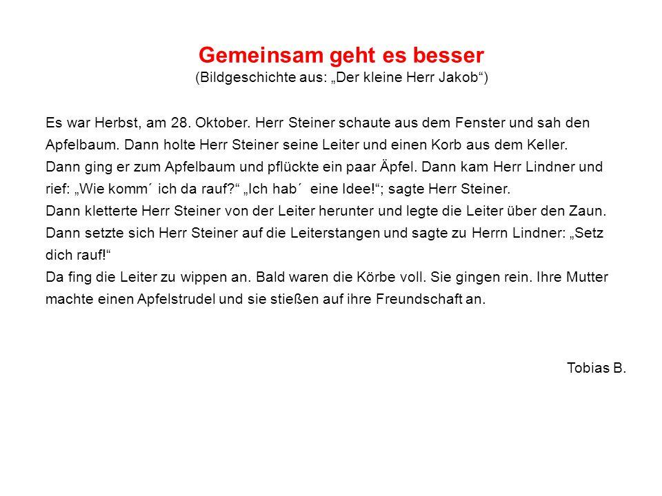 """Gemeinsam geht es besser (Bildgeschichte aus: """"Der kleine Herr Jakob"""") Es war Herbst, am 28. Oktober. Herr Steiner schaute aus dem Fenster und sah den"""