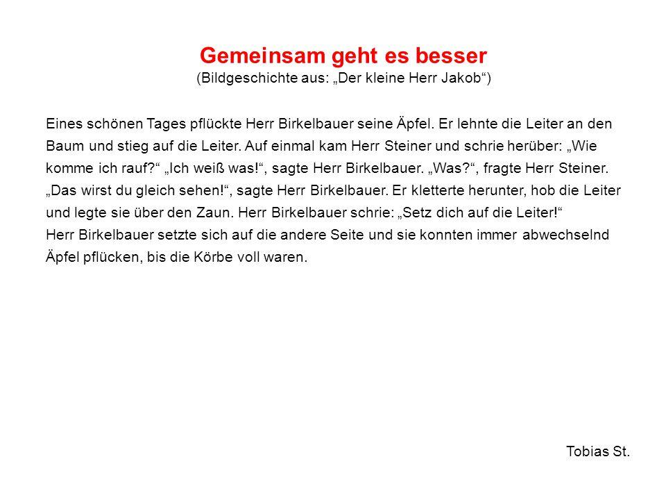 """Gemeinsam geht es besser (Bildgeschichte aus: """"Der kleine Herr Jakob"""") Eines schönen Tages pflückte Herr Birkelbauer seine Äpfel. Er lehnte die Leiter"""