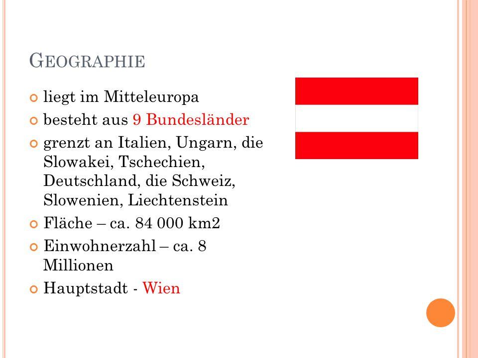 G EOGRAPHIE liegt im Mitteleuropa besteht aus 9 Bundesländer grenzt an Italien, Ungarn, die Slowakei, Tschechien, Deutschland, die Schweiz, Slowenien,