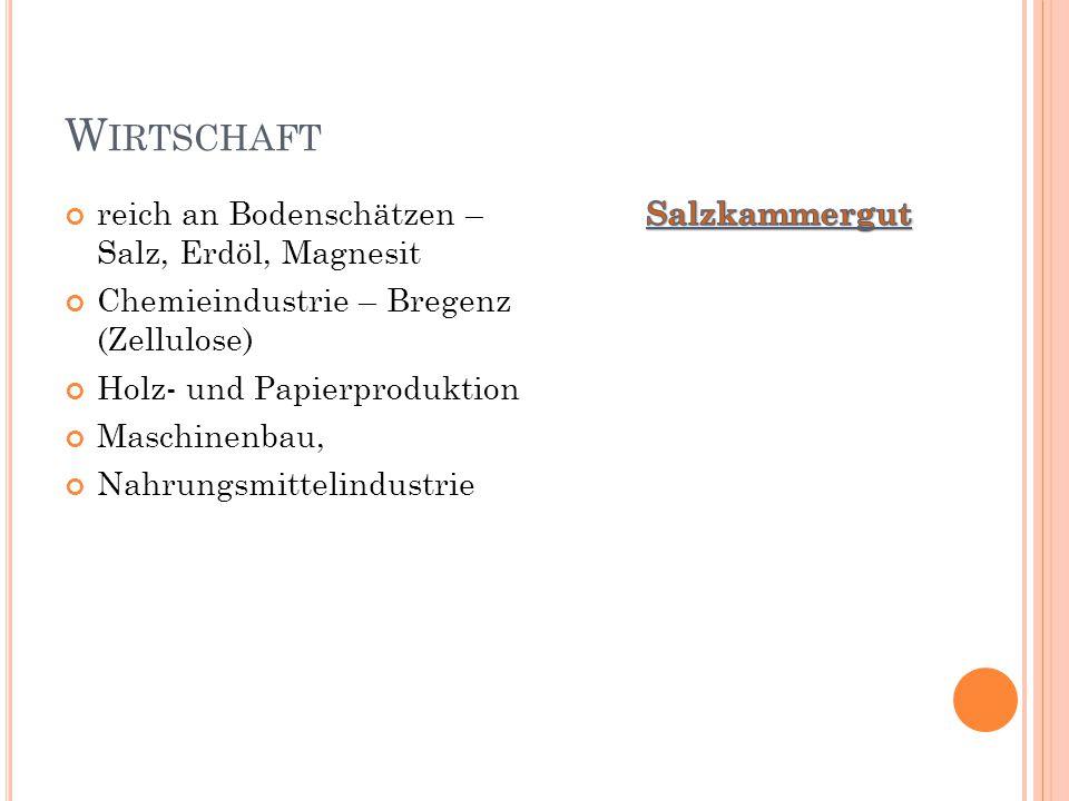 W IRTSCHAFT reich an Bodenschätzen – Salz, Erdöl, Magnesit Chemieindustrie – Bregenz (Zellulose) Holz- und Papierproduktion Maschinenbau, Nahrungsmitt