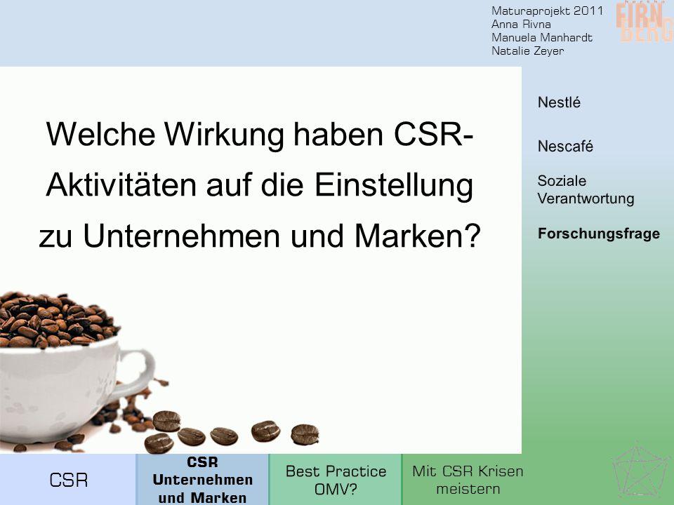 Maturaprojekt 2011 Anna Rivna Manuela Manhardt Natalie Zeyer Welche Wirkung haben CSR- Aktivitäten auf die Einstellung zu Unternehmen und Marken? CSR