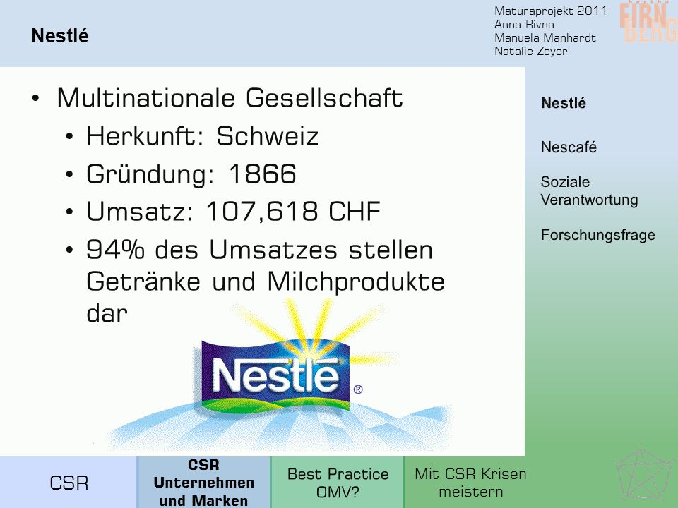 Maturaprojekt 2011 Anna Rivna Manuela Manhardt Natalie Zeyer Nestlé Multinationale Gesellschaft Herkunft: Schweiz Gr ü ndung: 1866 Umsatz: 107,618 CHF